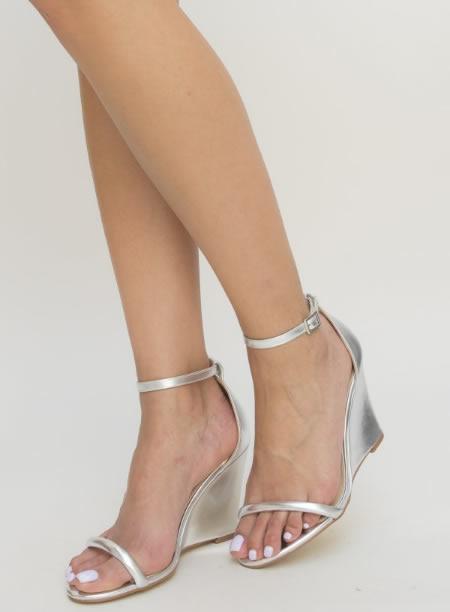 Sandale De Dama Argintii Cu Platforma
