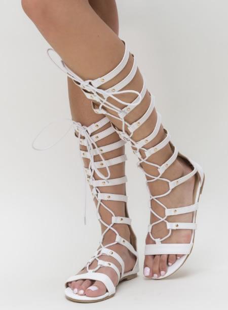 Sandale Gladiator Cu Talpa Joasa Albe