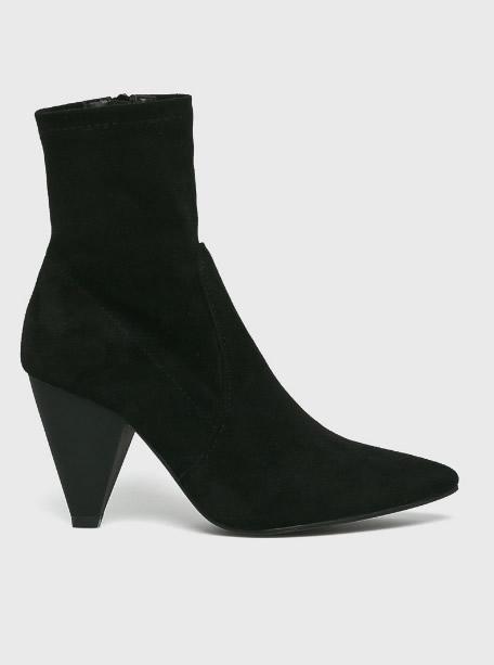 Botine Sock Boots Cu Toc Gros Si Varf Ascutit