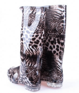 Cizme Lungi Animal Print Leopard Din Cauciuc