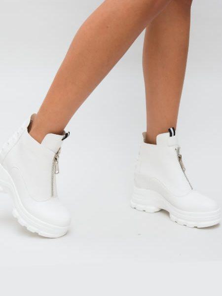 Adidasi Albi Dama Cu Platforma La Moda