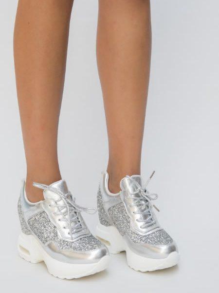 Adidasi Cu Platforma Si Glitter