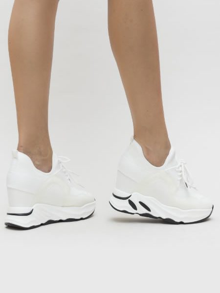 Adidasi Dama Cu Platforma Inalta Albi