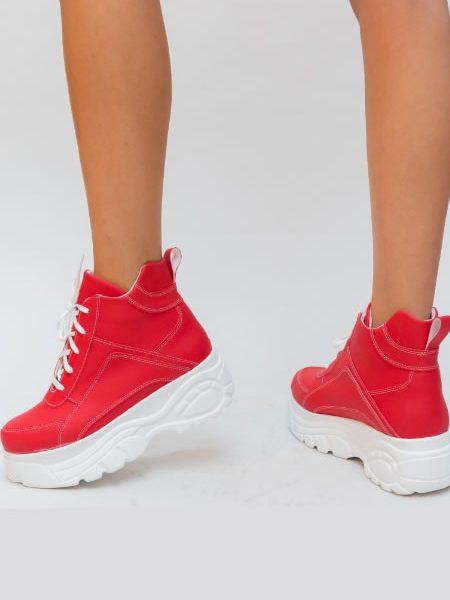 Adidasi Rosii De Dama Cu Platforma Plata