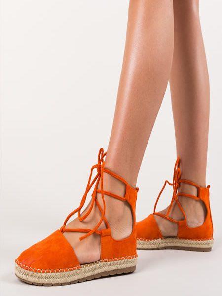 Espadrile Portocalii Dama Piele Intoarsa Pret Mic Modele Culori