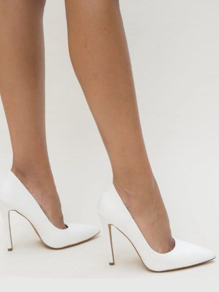 Pantofi Albi Cu Toc
