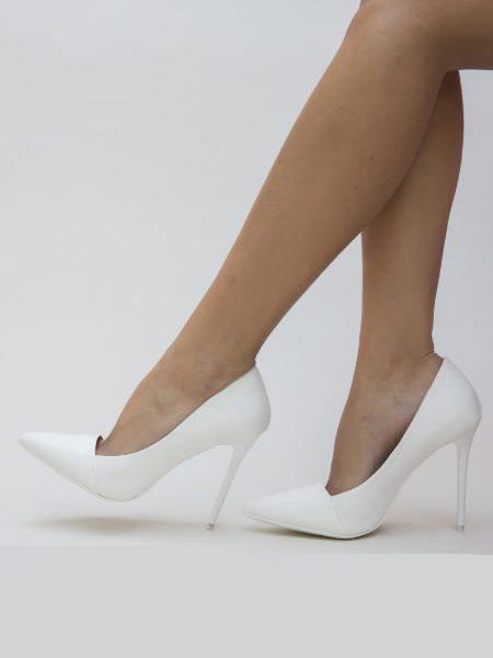 Pantofi Albi Dama Cu Oc