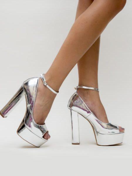 Pantofi Argintii Cu Platforma Si Toc Ocazii Speciale