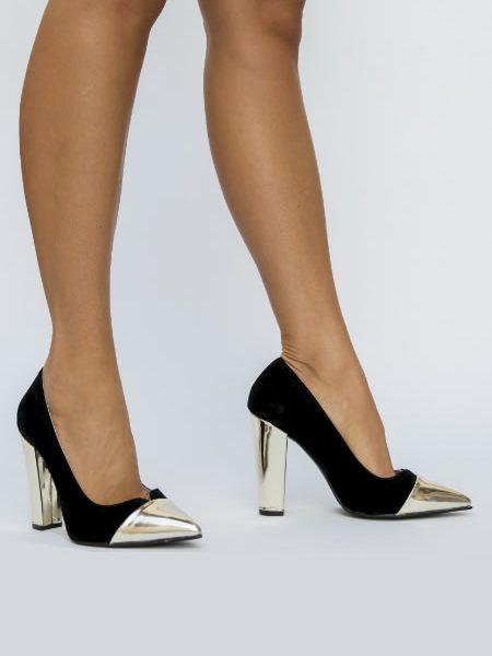 Pantofi Argintii Cu Toc Gros Cap Toe