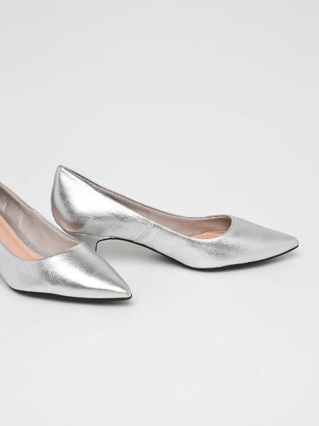 Pantofi Argintii Cu Toc Kitten Heel Din Piele
