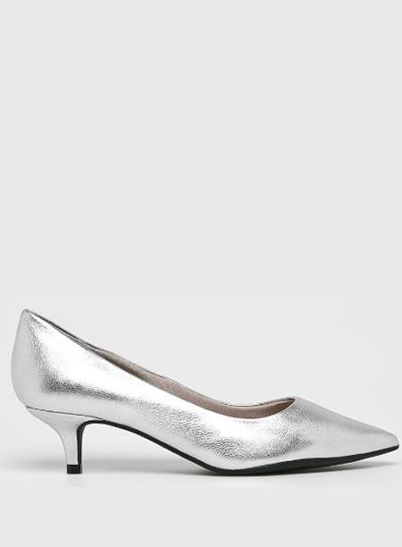 Pantofi Argintii Cu Toc Mic Kitten Heel