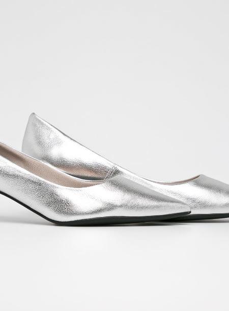 Pantofi Argintii Dama Piele