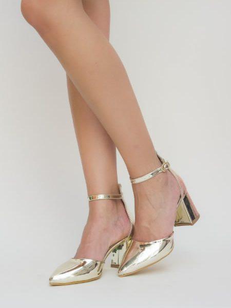 Pantofi Aurii Cu Toc Mediu Si Varf Ascutit