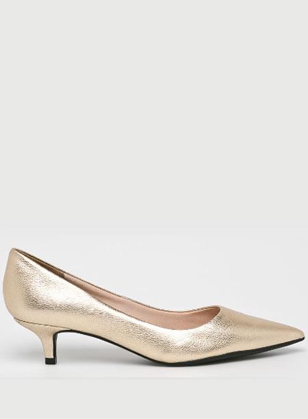 Pantofi Aurii Cu Toc Mic Kitten Heel