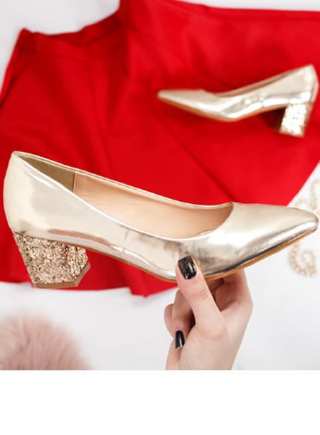 Pantofi Aurii De Seara Cu Toc Mic Si Paiete