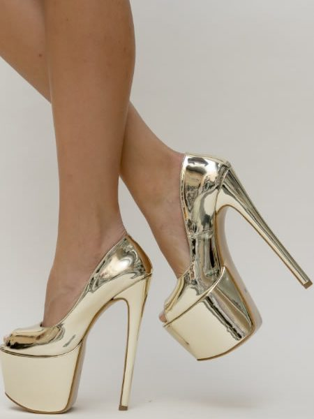 Pantofi Aurii Foarte Inalti