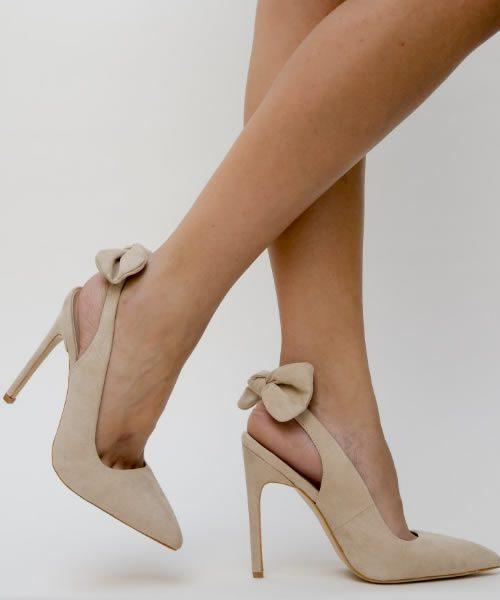 Pantofi Bej Cu Calcaiul Decupat Si Toc Subtire Inalt