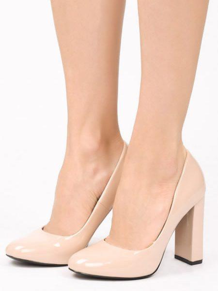 Pantofi Bej Cu Toc Gros Si Varf Rotunjit