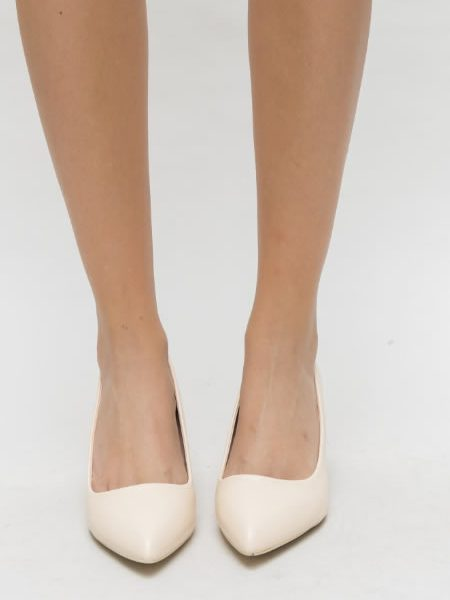 Pantofi Bej Cu Toc Jos