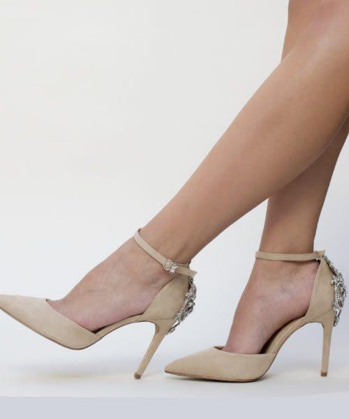 Pantofi Bej Dama Cu Toc