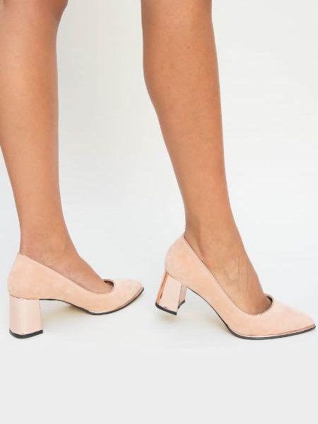 Pantofi Bej De Dama Cu Toc Gros