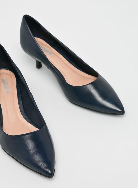 Pantofi Bleumarin De Piele Cu Toc Kitten Heel