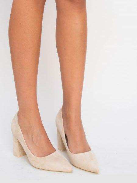 Pantofi Casual Cu Toc Gros Si Varf Ascutit