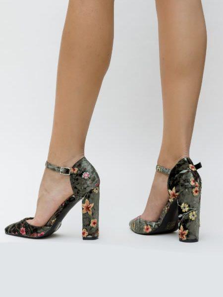 Pantofi Catifea Cu Toc Gros Verde