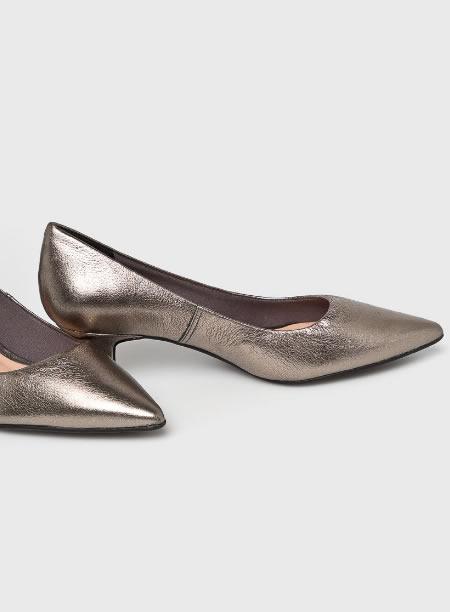Pantofi Crom Din Piele Cu Toc Jos Mic