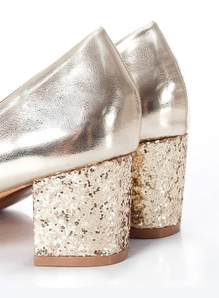 Pantofi Cu Paiete Aurii