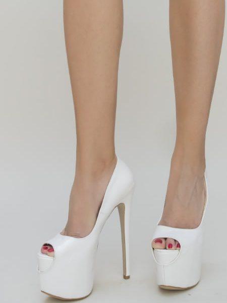 Pantofi Cu Platforma Si Toc Cui Albi