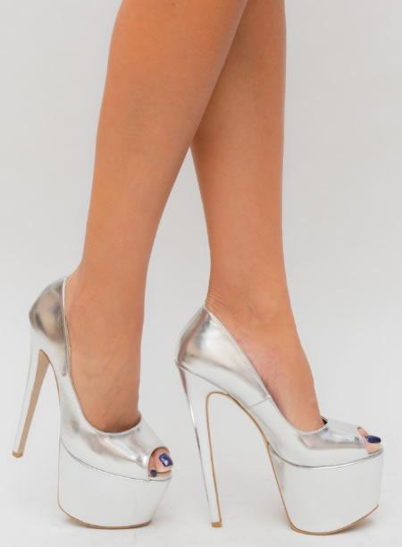 Pantofi Cu Platforma Si Toc Cui Argintii