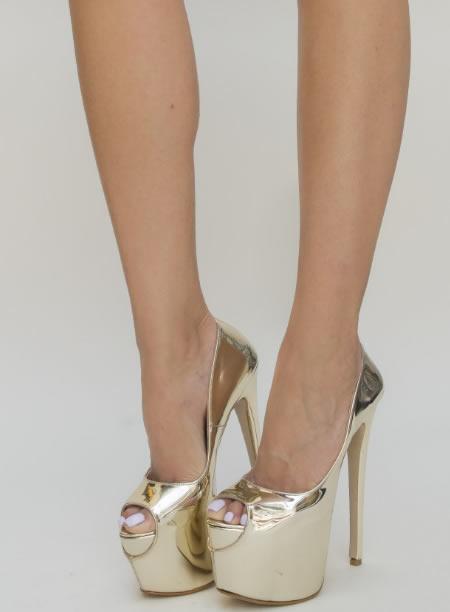 Pantofi Cu Platforma Si Toc Cui Aurii