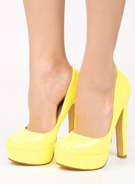 Pantofi Cu Platforma Si Toc Gros Galbeni