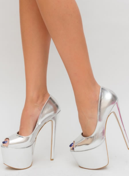 Pantofi Cu Platforma Si Toc Inalt Argintii