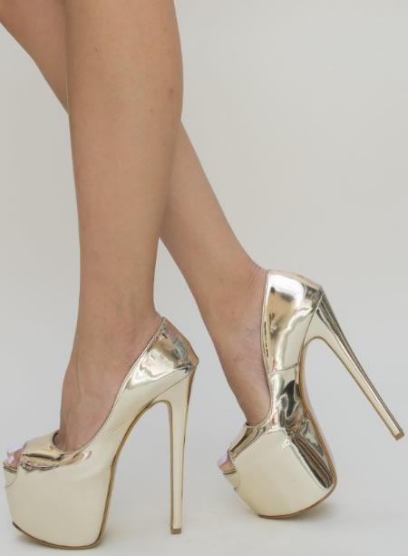 Pantofi Cu Platforma Si Toc Inalt Aurii