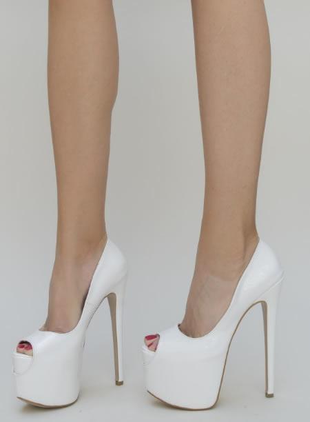 ; Pantofi Cu Platforma Si Toc Inalt Ieftini Albi