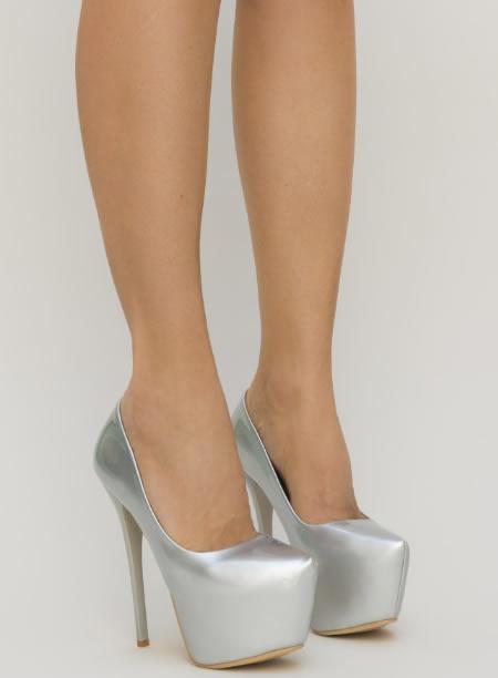 Pantofi Cu Platforma Si Toc Subtire Argintii