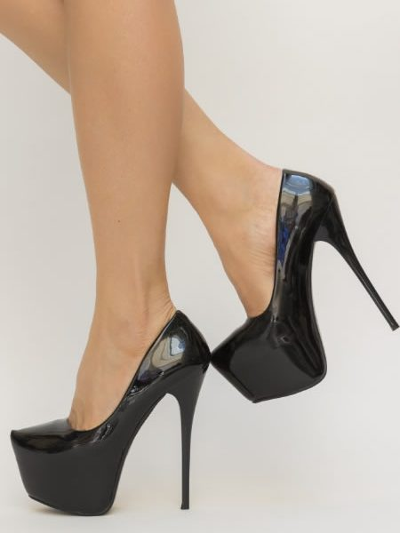Pantofi Cu Platforma Si Toc Subtire Negri
