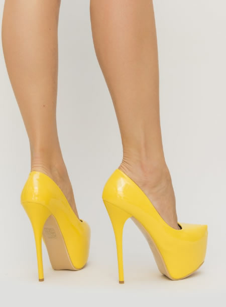 Pantofi Cu Toc Cui Si Platforma Galbeni