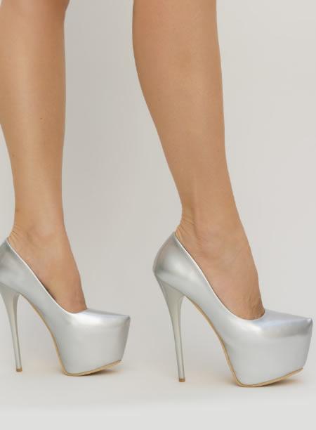 Pantofi Cu Toc Cui Si Platforma Gri