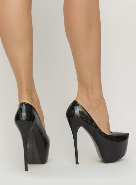 Pantofi Cu Toc Cui Si Platforma Negri