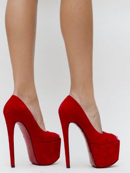 Pantofi Cu Toc Foarte Inalt Si Platforma Rosii