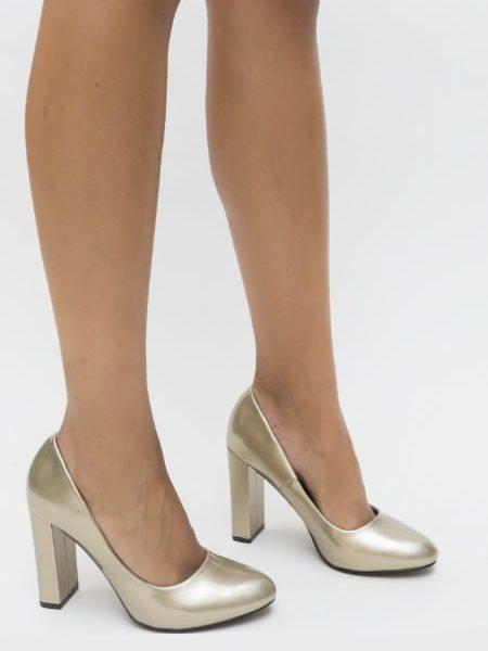 Pantofi Cu Toc Gros Aurii Dama