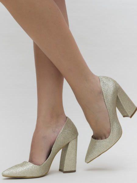 Pantofi Cu Toc Gros Eleganti Aurii