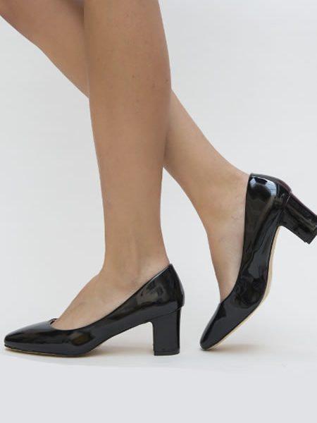 Pantofi Cu Toc Gros Mediu Ieftini Negri