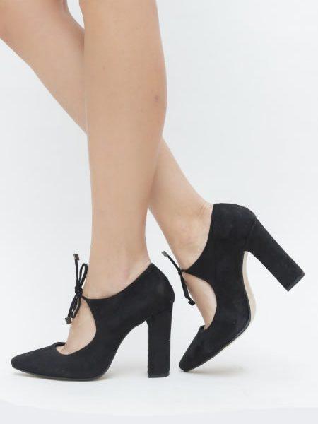 Pantofi Cu Toc Gros Si Siret Negri