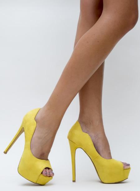 Pantofi Cu Toc Inalt Si Platforma Ieftini Galbeni