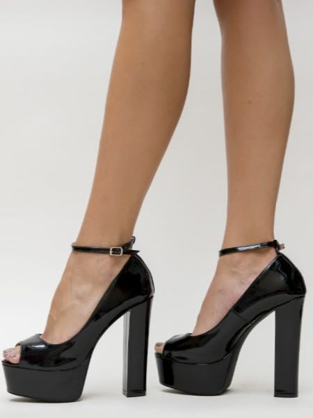 Pantofi Cu Toc Inalt Si Platforma Negri