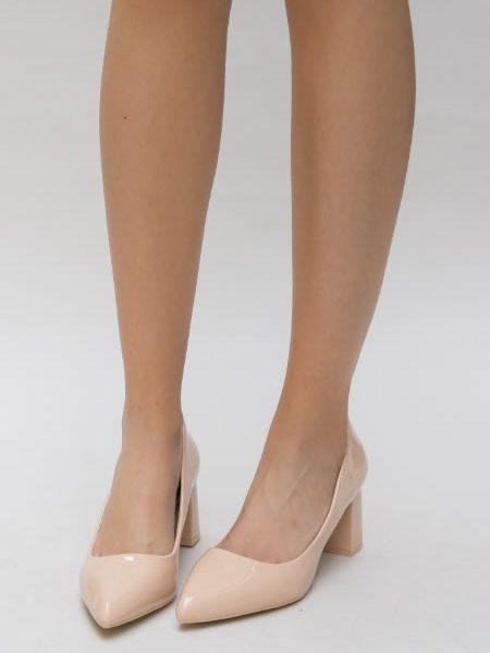 Pantofi Cu Toc Mediu Crem